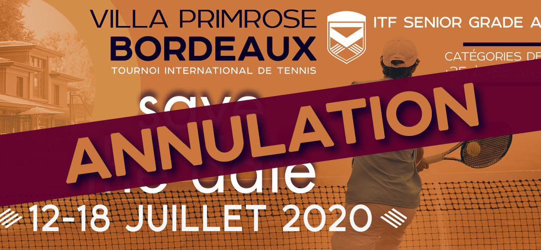 Annulation du tournoi ITF Primrose Senior Open